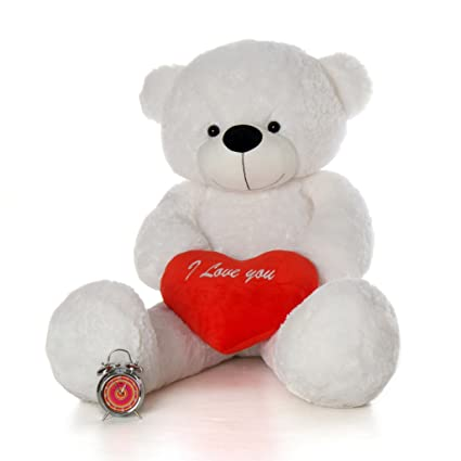 2c2fac6779a Amazon.com  5 Foot Life Size I Love You Teddy Bear White Color Feather Soft  Huge Plush Stuffed Animal Coco Cuddles Heart  Toys   Games
