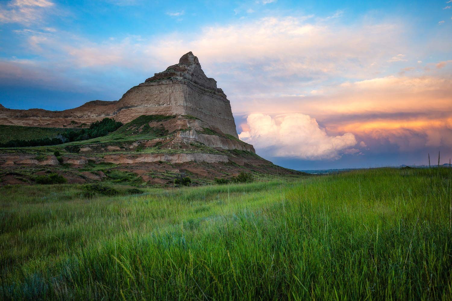Nebraska Photography Wall Art Print - Picture of Scottsbluff at Sunset After Storms Western Landscape Photo Home Decor 5x7 to 30x45