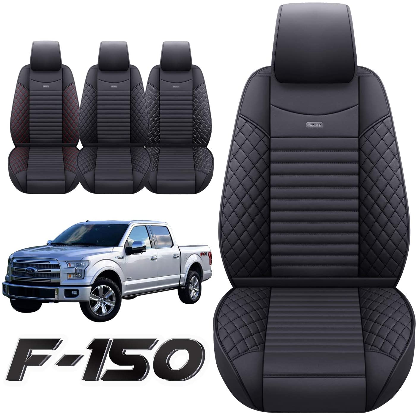 Black Leather  Like 2 Front Car Seat Covers 2010-2021 F-150 #209A
