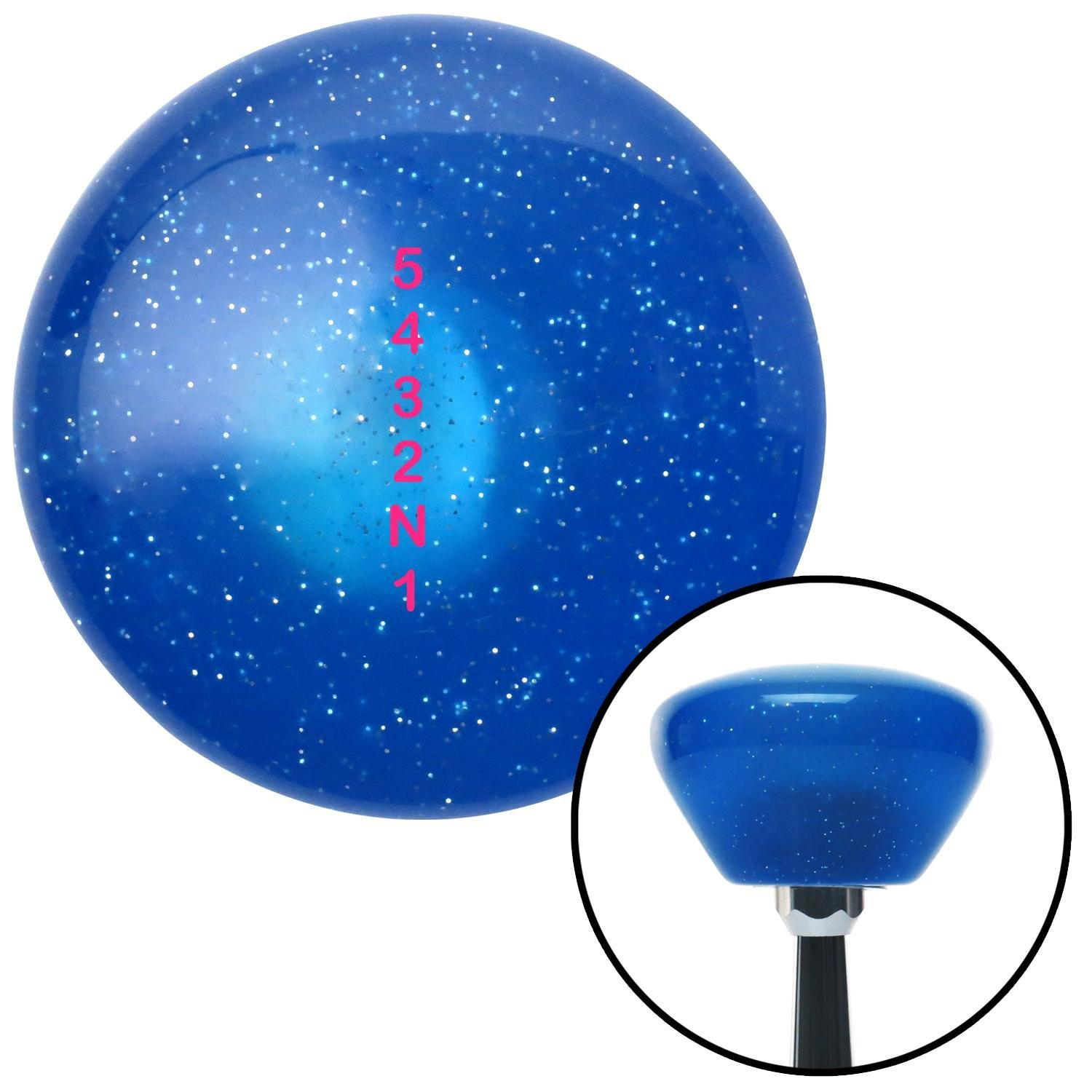 American Shifter 192085 Blue Retro Metal Flake Shift Knob with M16 x 1.5 Insert Pink Shift Pattern 59n
