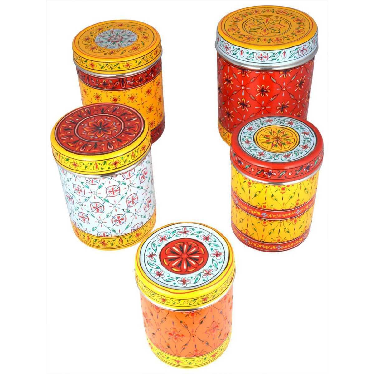 Indian Traditional Hand Painted Canister Storage Box Handicraft Set Of 5 by kaushalam