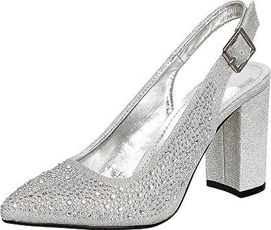 61a61e58d39 Cambridge Select Women s Pointed Toe Glitter Crystal Rhinestone Slingback  Block Heel Pump