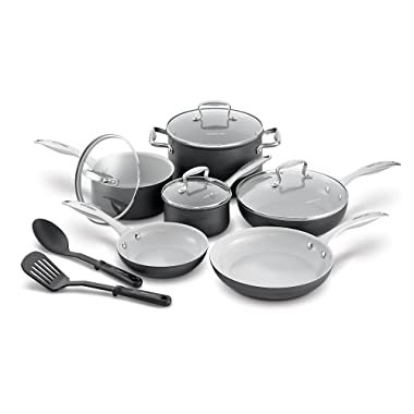 GreenLife CC000801-001 Classic Pro Hard Anodized Healthy Ceramic Nonstick Metal Utensil Safe Dishwasher/Oven Safe Cookware set, 12-Piece, Grey