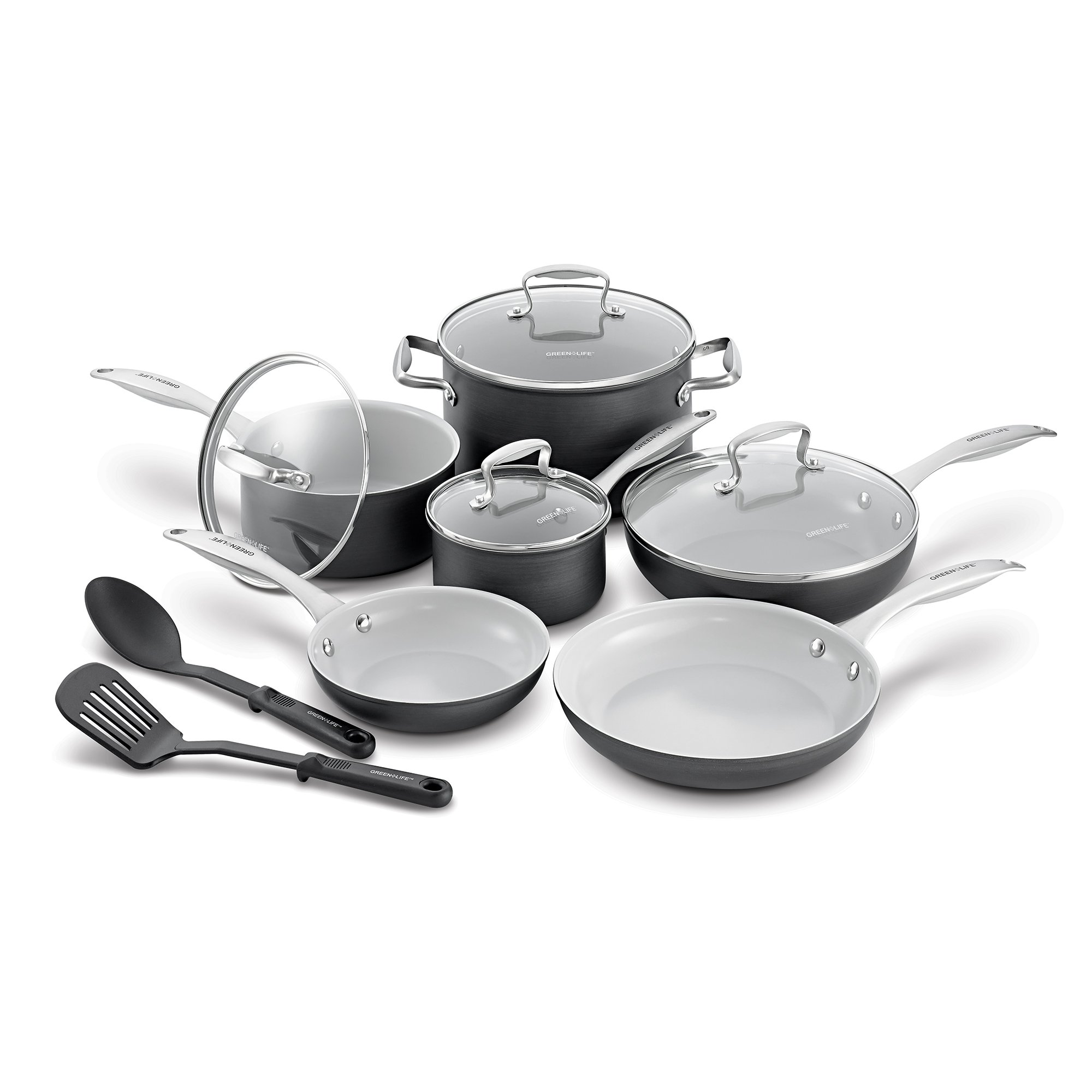 GreenLife CC000801-001 Classic Pro Hard Anodized Healthy Ceramic Nonstick Metal Utensil Safe Dishwasher/Oven Safe Cookware set, 12-Piece, Grey by GreenLife