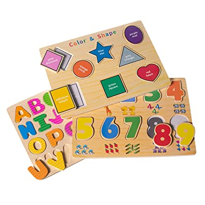 Eliiti Wooden Puzzle Set for Toddlers 2 to 4 Years Old - Alphabet ABC, Numbers 123, Colors & Shapes: Toys & Games