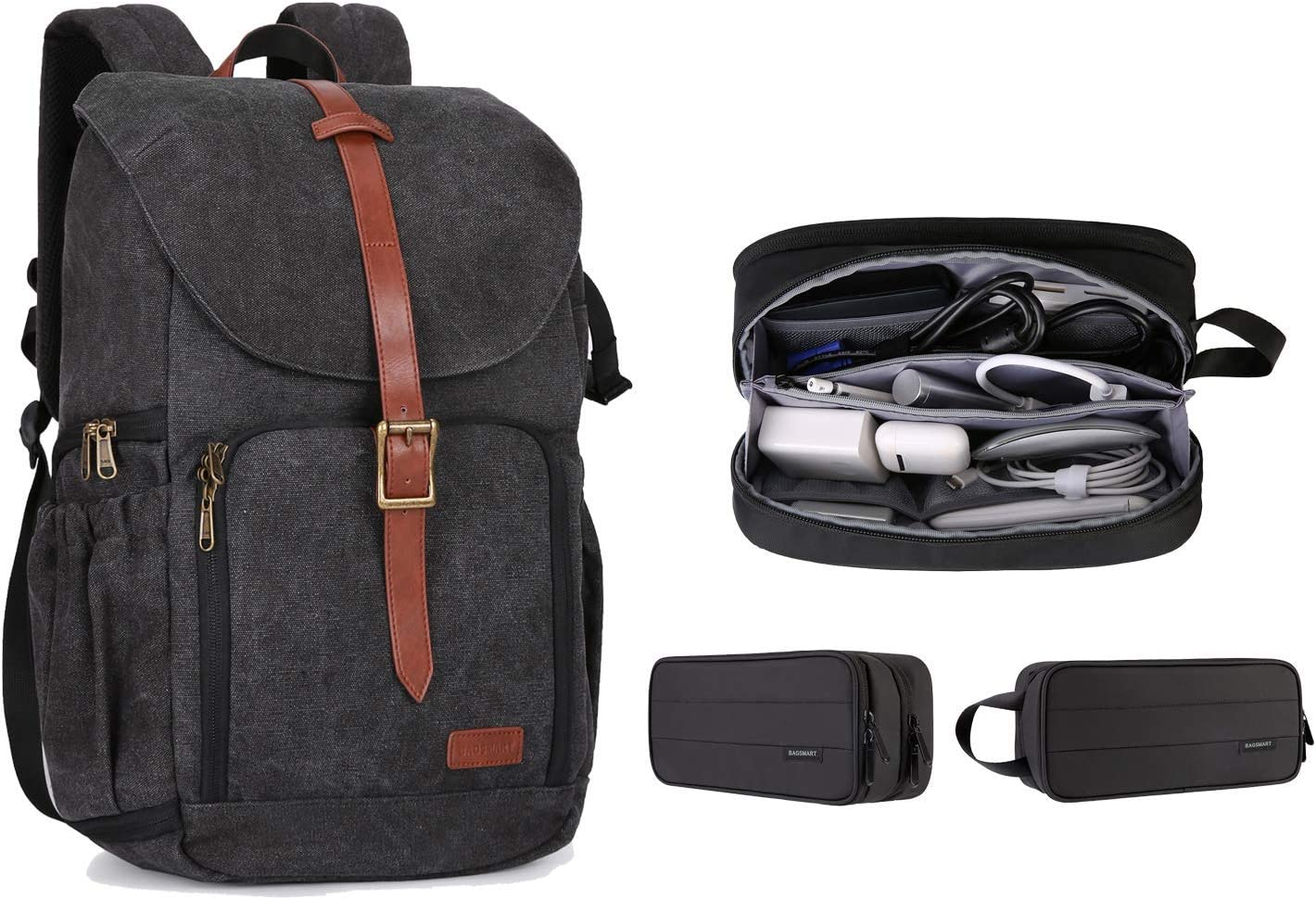 BAGSMART Anti-Theft Camera Backpack and Electronic Storage Pouch Large