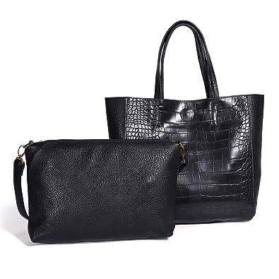 60443643a68e Amazon.com  Women Tote Bag Ladies PU Leather Handbag Satchel Top Handle  Shoulder Bags Big Large for Traveling School Work (Black)  Shoes