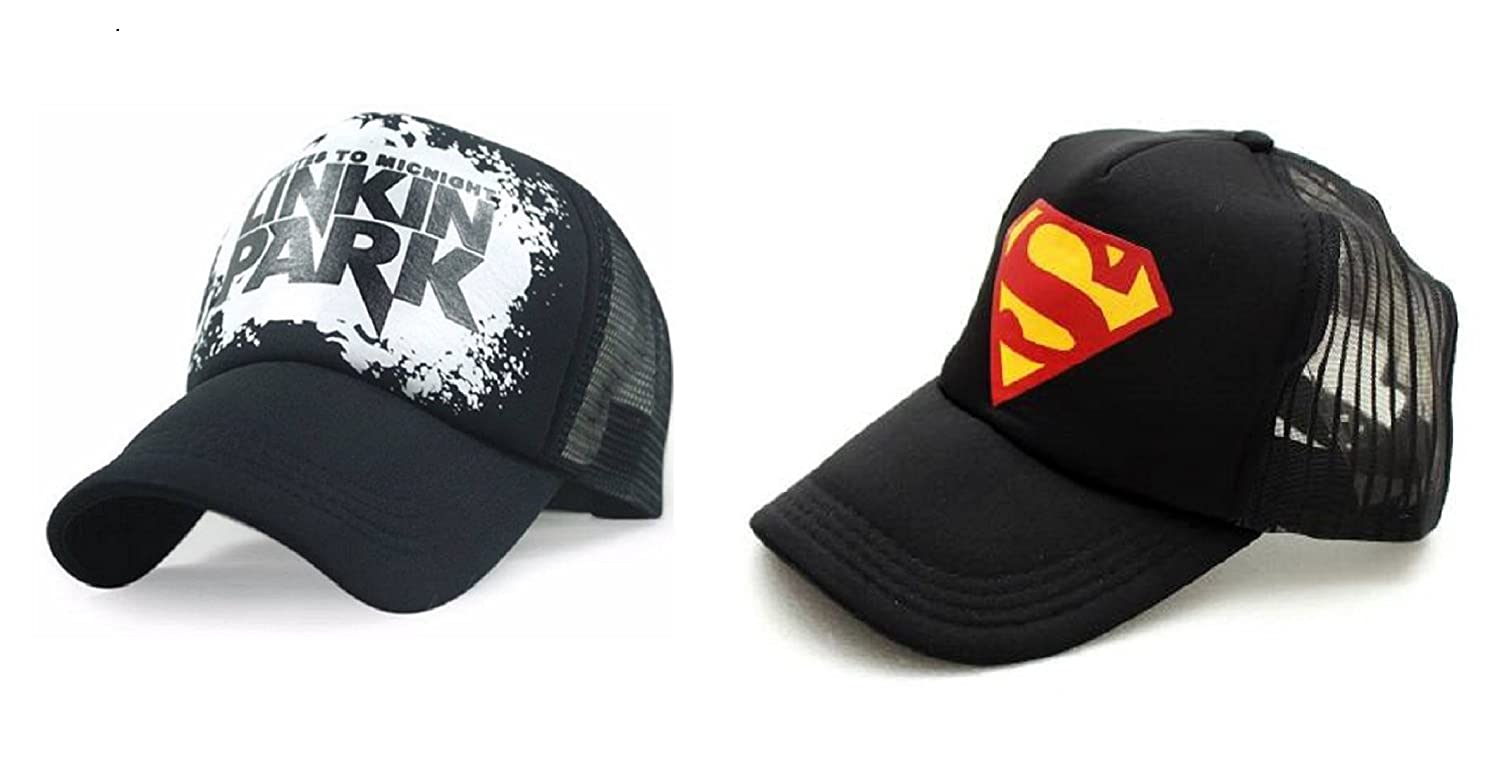 b712601de0d Michelangelo Yellow Superman Half Net Baseball CAP and Black Linkin Park  Half Net UNISEX CAP COMBO  Amazon.in  Clothing   Accessories