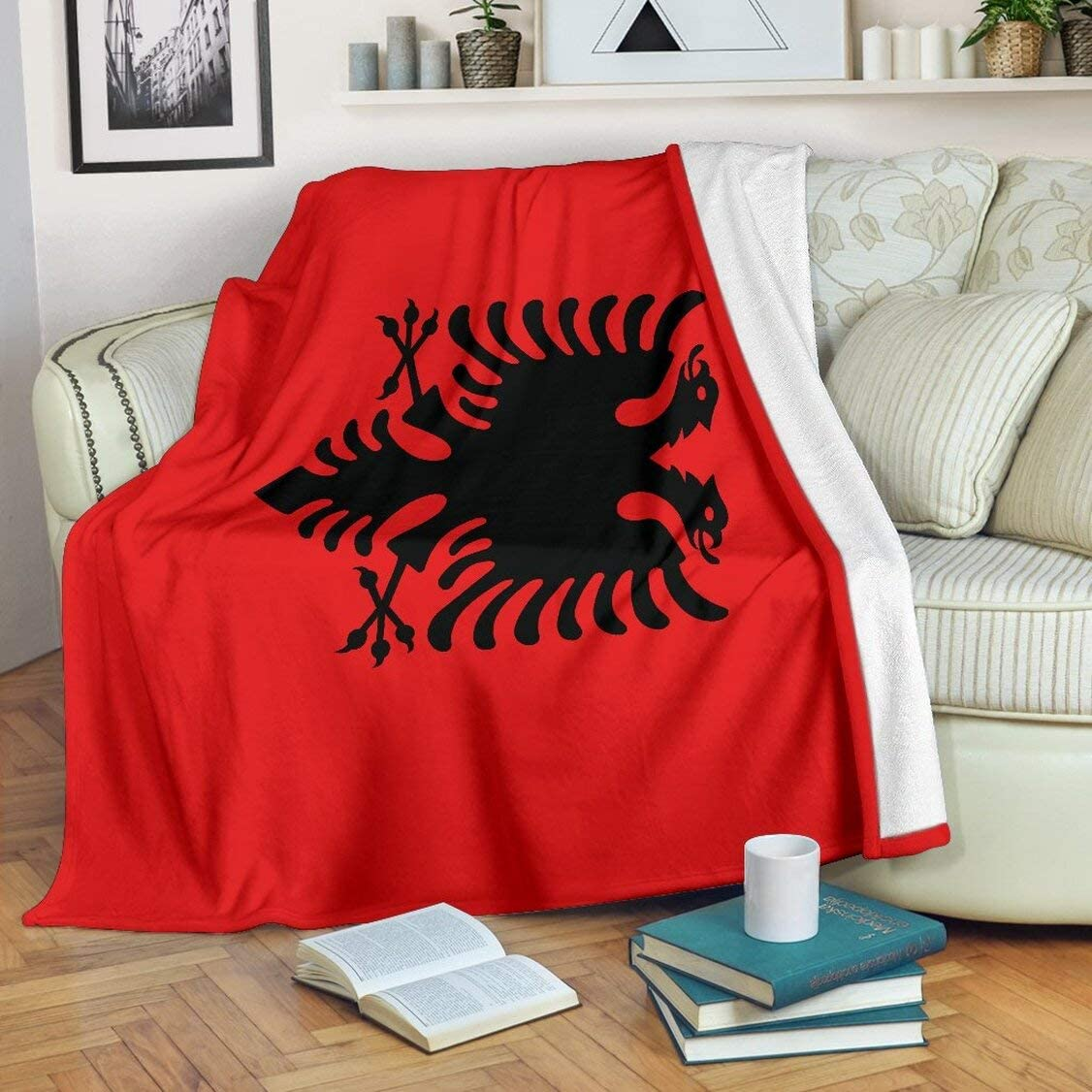 Albania Original F Lag Premium Blanket Print Super Soft And Warm All Season Throw Blanket For Sofa Bed Outdoor Hotel And Home Home Kitchen