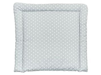 KraftKids Wickelauflage in weiße Herzen auf Grau, Wickelunterlage 75x70 cm (BxT), Wickelkissen