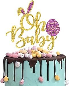 Gold Glitter Rabbit Ear Oh Baby Cake Topper, Spring Easter Baby Shower Cake Topper, Bunny Cake Smash Decor, Spring Garden Theme Party Decoration
