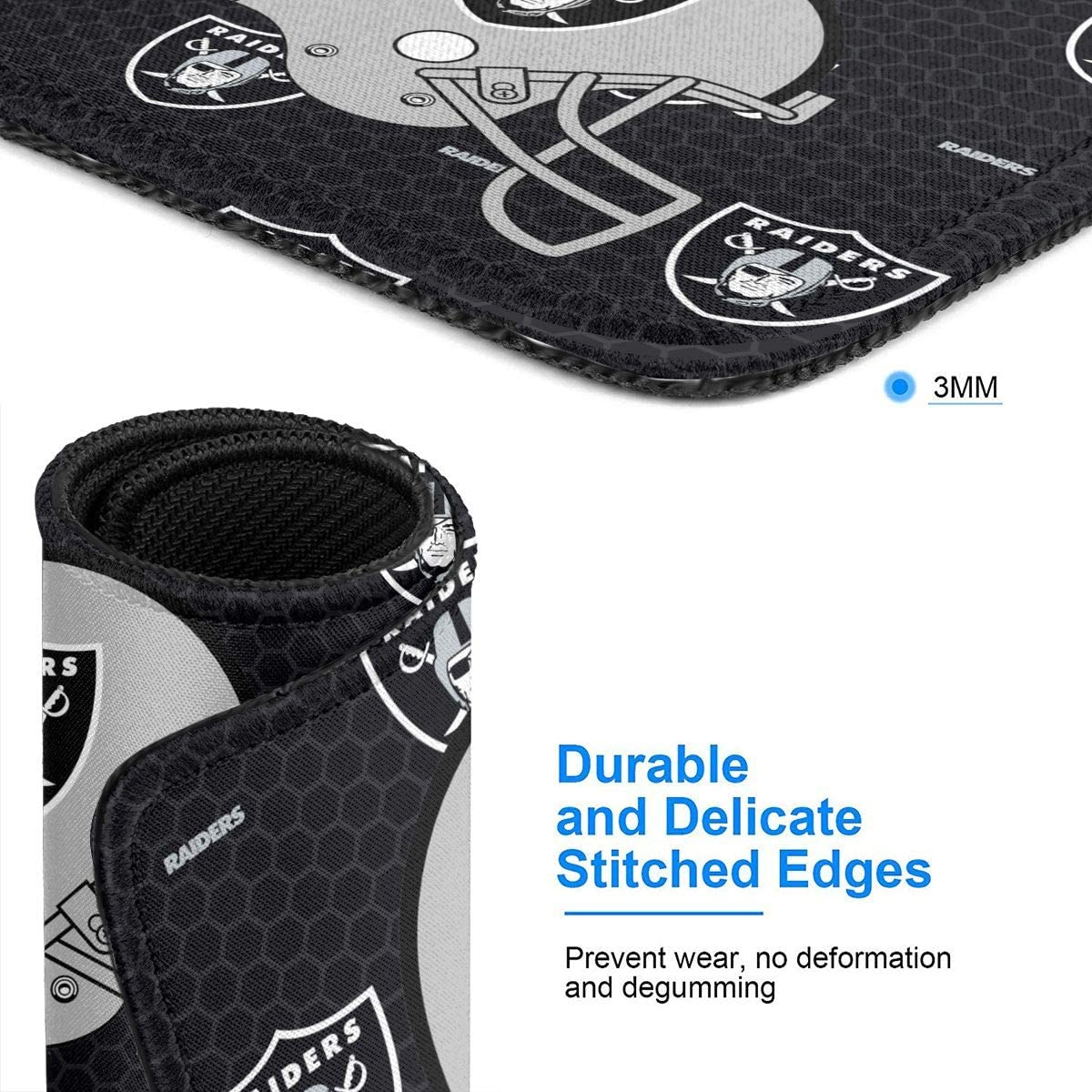 KAQ Las Vegas Raiders Logo Multi-Size Mouse Pad with Stitched Edge,Mouse Pad with Non-Slip Rubber Base for Laptop,Computer/&PC