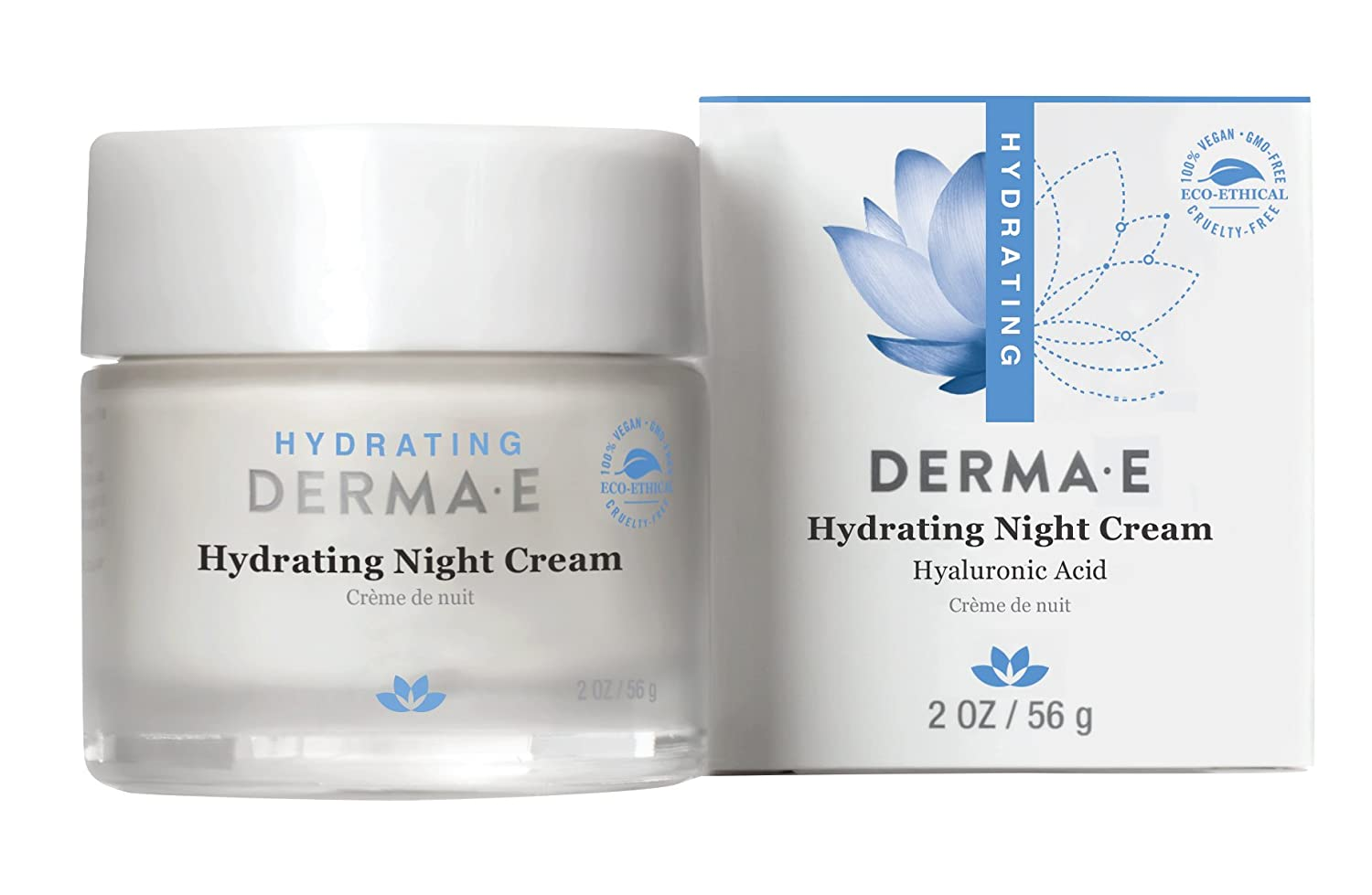 DERMA E Hydrating Night Cream with Hyaluronic Acid 2oz 0466