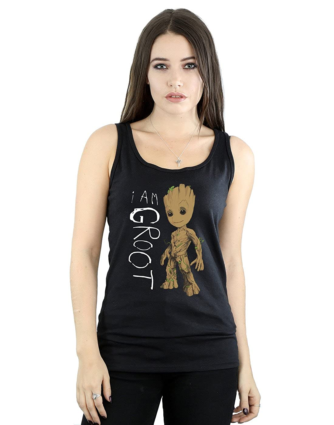 Marvel Mujer Guardians of The Galaxy I Am Groot Scribbles Camiseta Sin Mangas