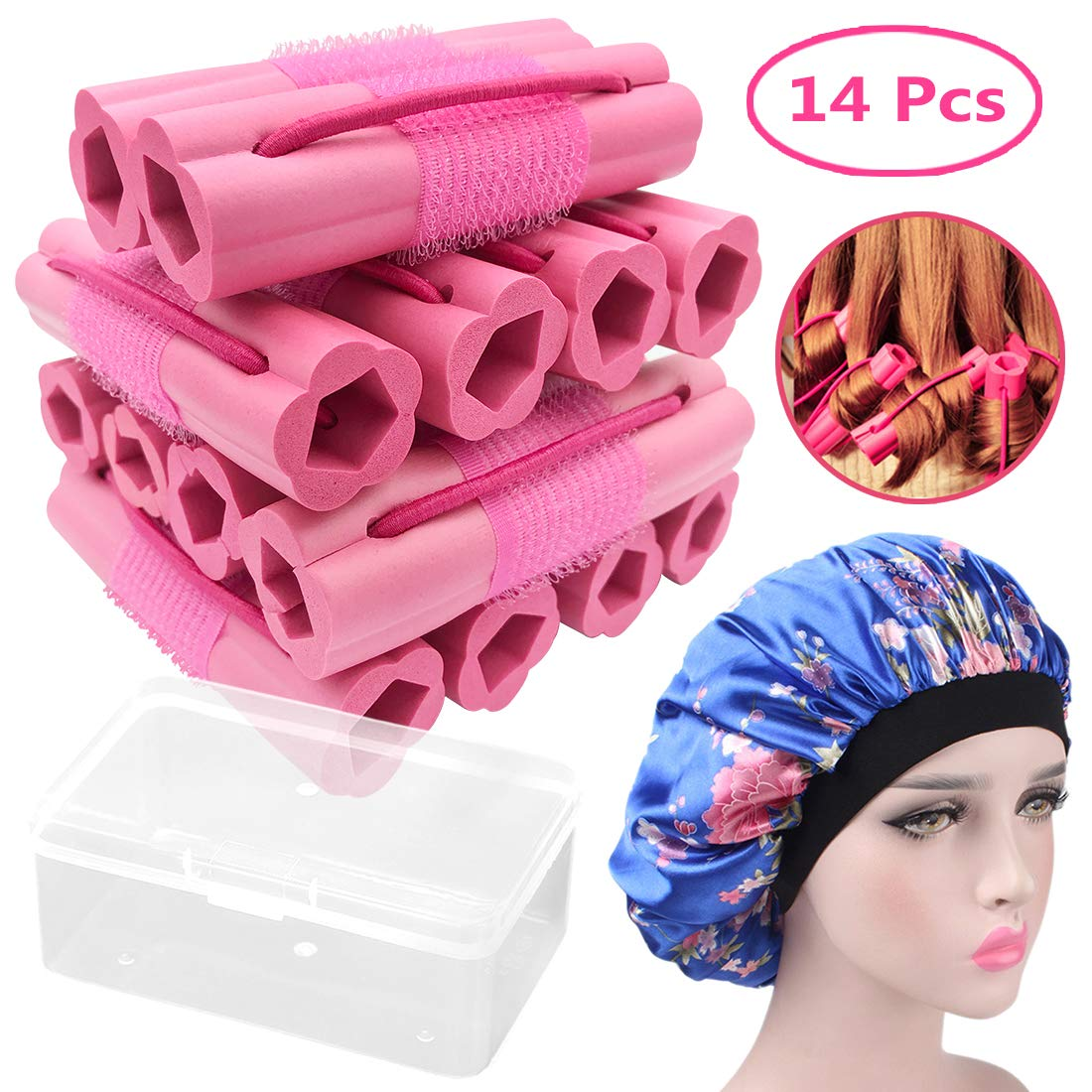 Hair Rollers Curlers, Foam Sponge Hair Curlers, Pillow Hair Curlers, No Heat Sleeping Hair Rollers for Long & Short & Thick & Thin Hair, Flexible Hair Curlers for Women & Girls, 14 Pcs with Sleep Cap by Ousen Beauty