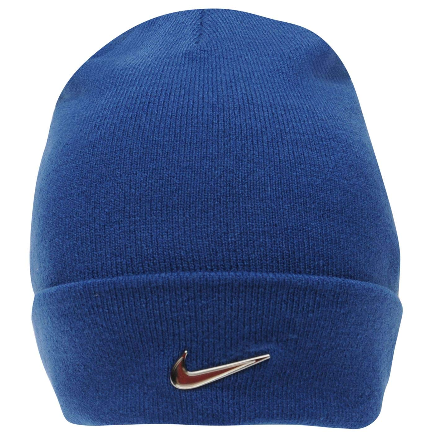 98b0043b7 Nike Junior Beanie Metal Logo Blue Hat Fits Six to Thirteen Years of Age
