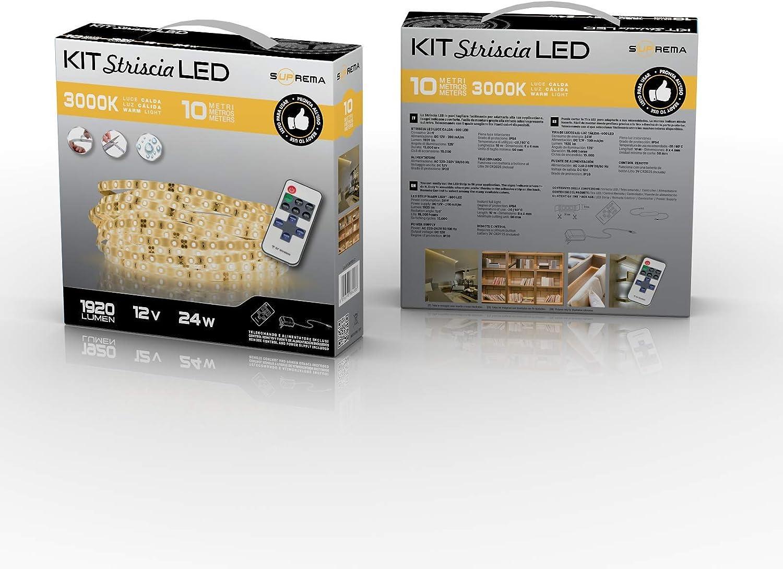 Luce Calda 3000K Suprema Kit Striscia LED 10 Metri 24W con Telecomando ed Alimentatore 24 W