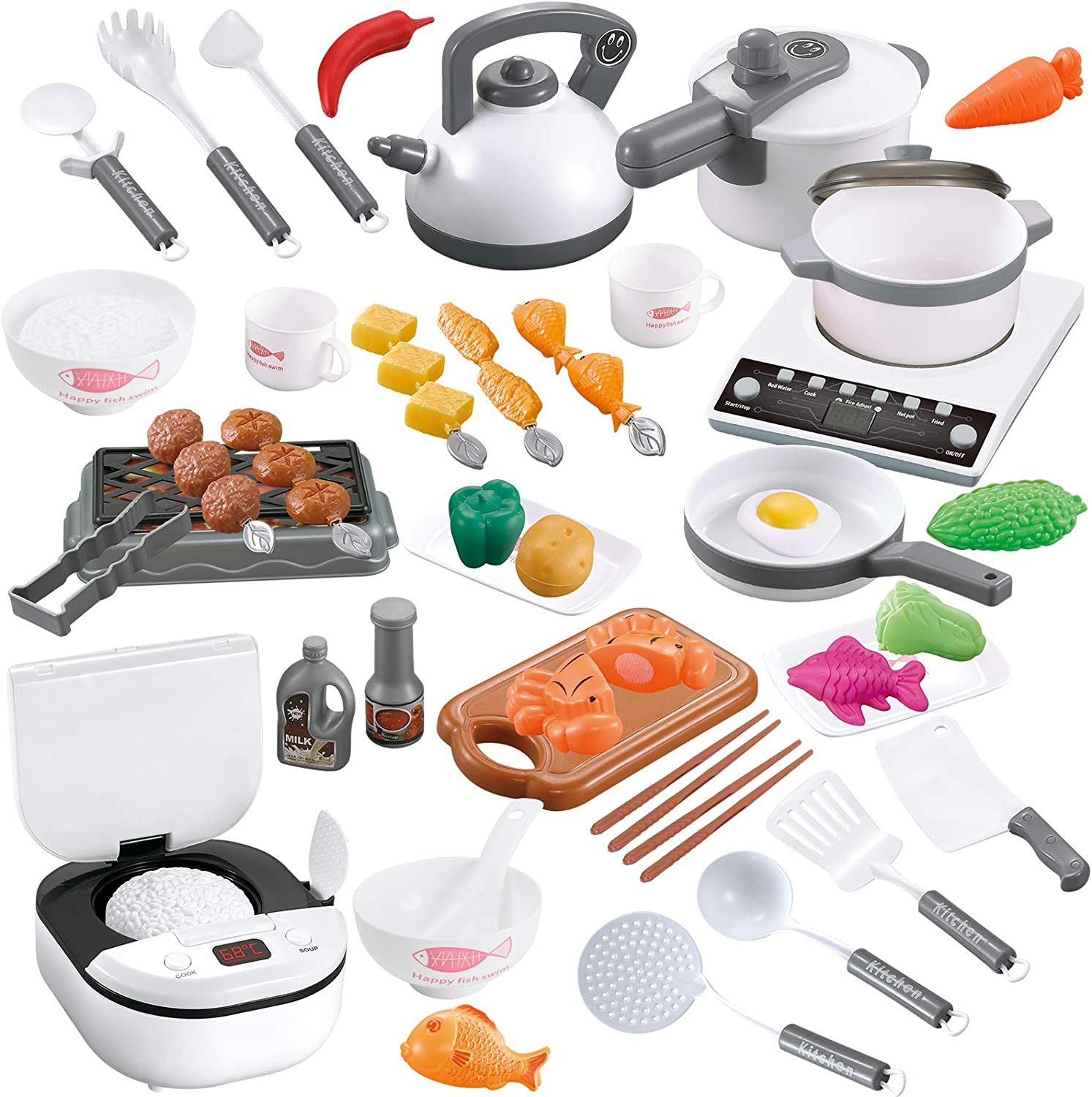 TIKTOK 59 PCS Pretend Play Toy Kitchen Set, Toy Food Cookware Playset Steam Pressure Pot and Electric Induction Cooktop,Cooking Utensils,Toy Cutlery,Cut Play Food, for Girls Boys Kids White