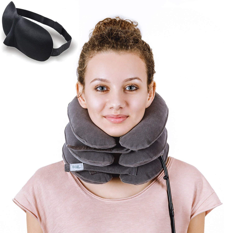 Davi SMART Cervical Neck Traction ✮ Effective Neck Pain Remedy at Home ✮ Inflatable & Adjustable Neck Stretcher Collar Device + Eye Mask Bonus (Gray)