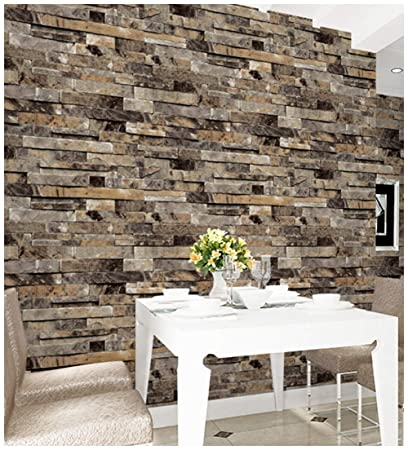 Haokhome 91302 3d Faux Brick Wallpaper Textured Stone Wallpaper Roll Yellow 20 8 X 393 7 Home Room Decoration
