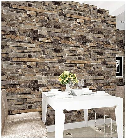 Amazoncom Haokhome 91302 3d Faux Brick Wallpaper Textured Stone