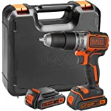 BLACK+DECKER 18V Brushless Hammer Drill with Kitbox and 2 x 1.5 Ah Lithium Ion Batteries