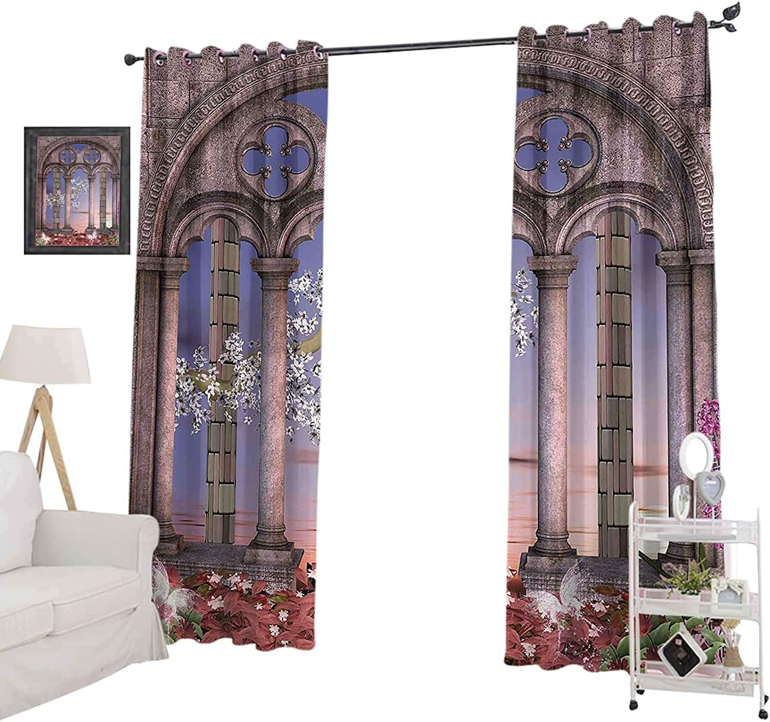 """YUAZHOQI Window Curtain Ancient Colonnade in Secret Garden with Flowers at Sunset Enchanted Forest Drapes for Living Room 52"""" x 95"""" Grey Blue Lilac Red"""
