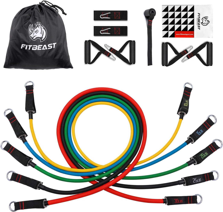 Set de Bandas de Resistencia de FitBeast, bandas elásticas para entrenar con soporte de 100lbs, Kit de Bandas para Entrenar con 5 tubos, 4 Manijas de ...