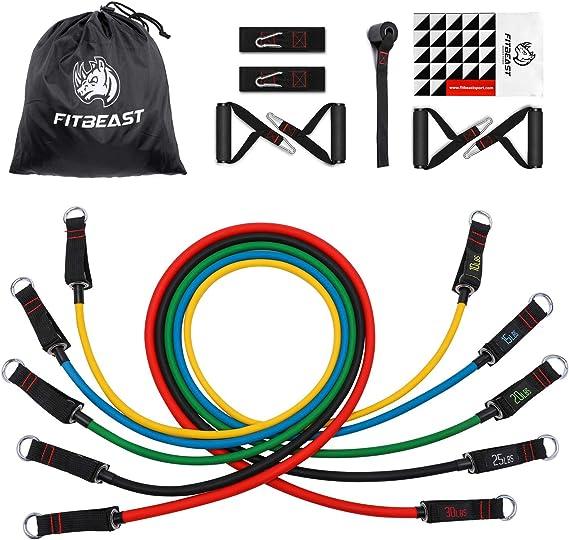 FitBeast Set de Bandas de Resistencia, Bandas elásticas para Entrenar con Soporte de 100lbs, Kit de Bandas para Entrenar con 5 Tubos, 4 Manijas de ...