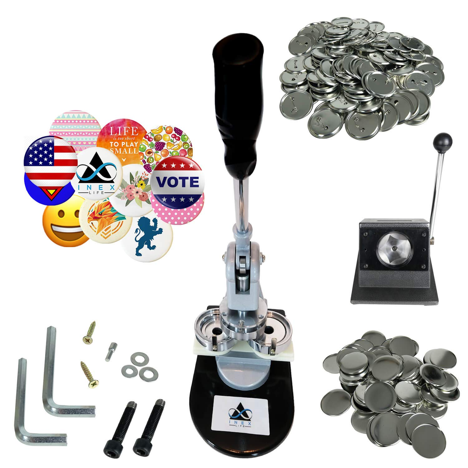 Button Maker Badge Making Machine - 58mm 2 ¼ inch 2.28 inch | Heavy Duty Circle Cutter Punch Press Machine | 1000 Circle Button Parts - Metal Badge Button Shell & Pin Back | All-in-One Complete DIY