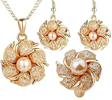 Joyas 18k Gold Plated Bridal Jewelry Set with Pearl and Crystal, Set De Joyeria,