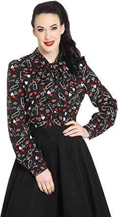 Hell Bunny Bisous Lipstick Pinup Retro Vintage 50/'s Long Sleeve Blouse Shirt Top