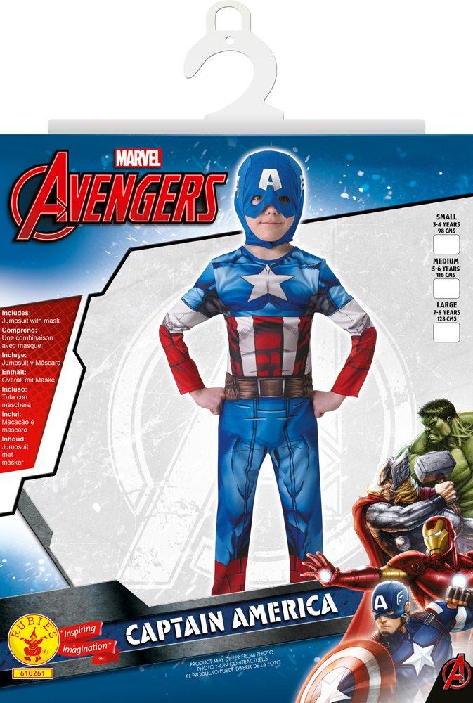 I-610261L talla L Disfraz Marvel The Avengers Capit/án Am/érica para ni/ños Rubies The Avengers
