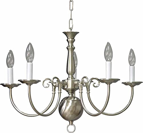 Volume Lighting V3565-33 Chandelier, Brushed Nickel Finish
