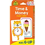 School Zone - Time & Money Flash Cards - Ages 6 and Up, 1st Grade, 2nd Grade, Telling Time, Reading Clocks, Counting Coins, C