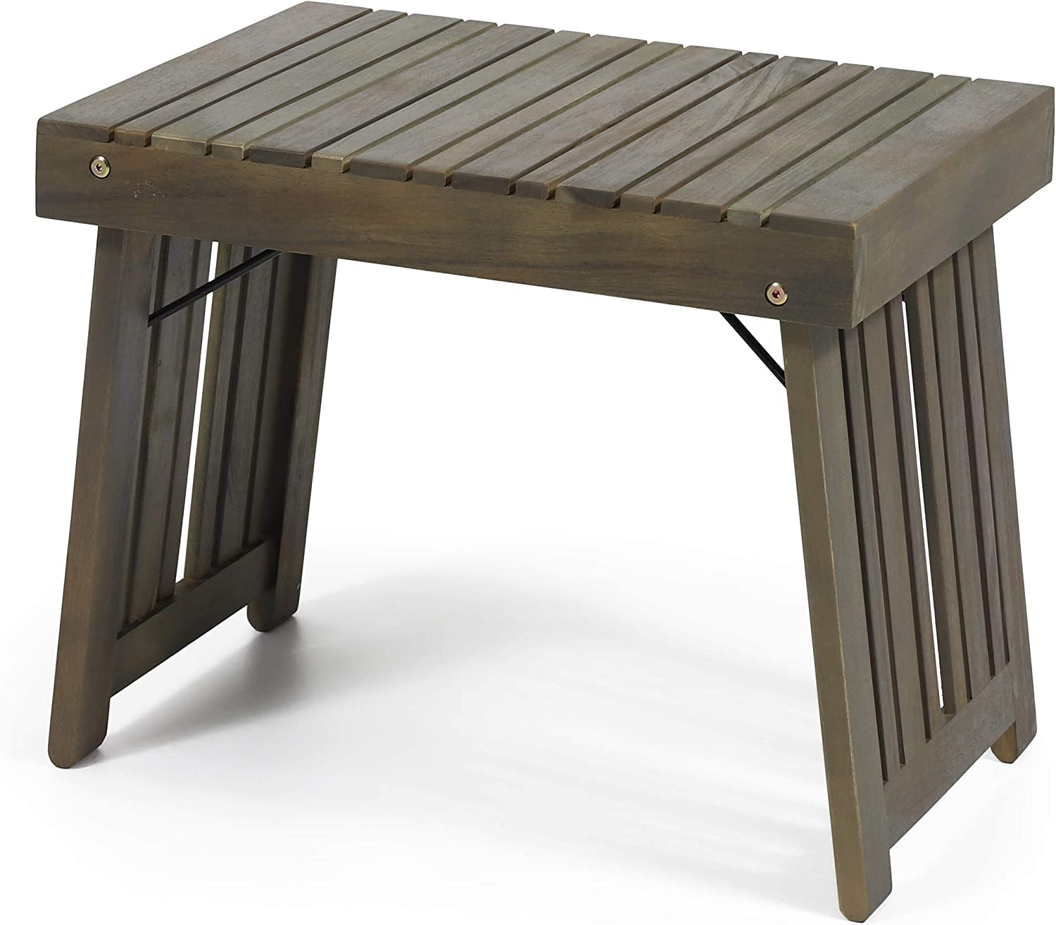 Christopher Knight Home 312745 Howard Outdoor Acacia Wood Folding Side Table, Gray Finish