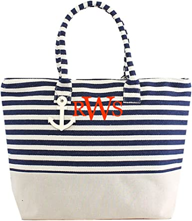 Large Canvas Summer Beach Tote Shopping Shoulder Bag Spacious Zip Compartment