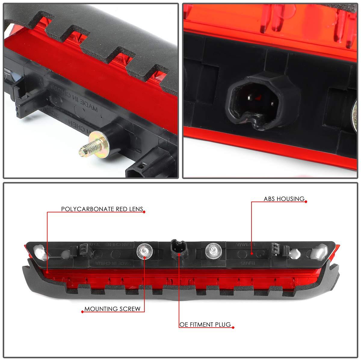 DNA Motoring 3BL-STC11-3D-LED-RD Rear Center Trunk Lid 3D LED Bar 3rd Tail Brake Light Replacement