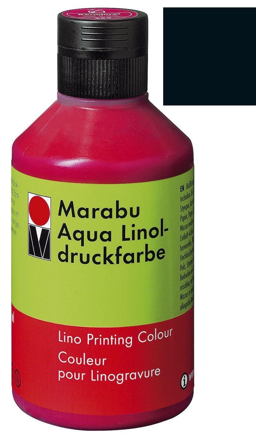 Marabu 151013073di Aqua linoldruckfarbe, Nero, 250ML