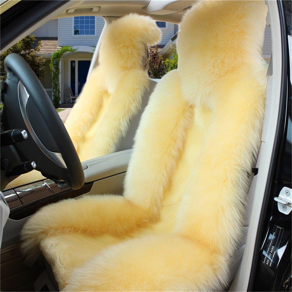 (ピーキー)Peigee カーシートカバー 車アクセサリー シートクッション ウール ムートン 軽自動車 普通車 3枚セット B01N7G9OAB ライトイエロー ライトイエロー