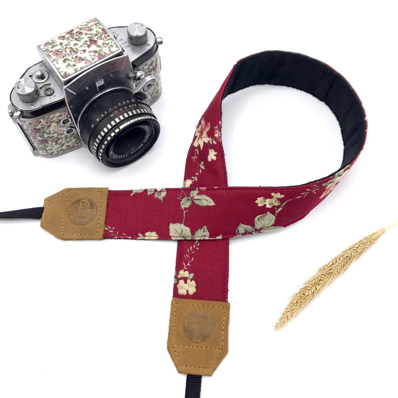 PresonalizedレッドFloraカメラストラップ、キャンディレザーDSLRカメラストラップ、本革カメラストラップ、ギフトfor Her   B07CYW6Q9Z