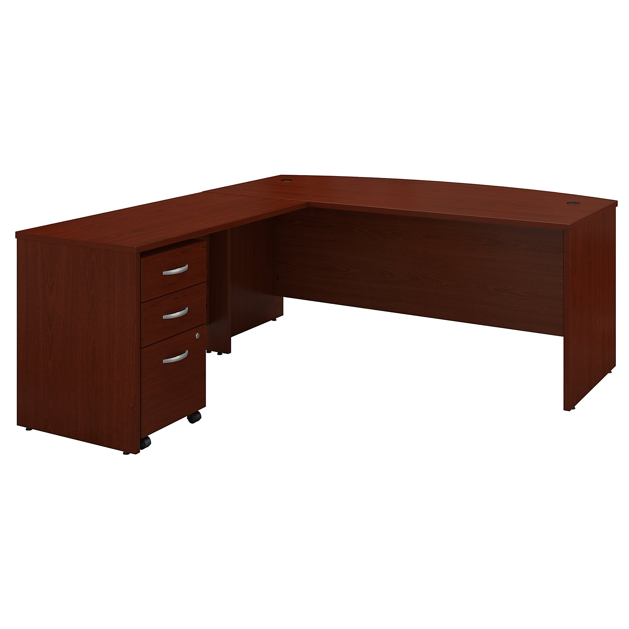 Bush Business Furniture Series C 72W Bow Front L Shaped Desk with 48W Return and Mobile File Cabinet in Mahogany