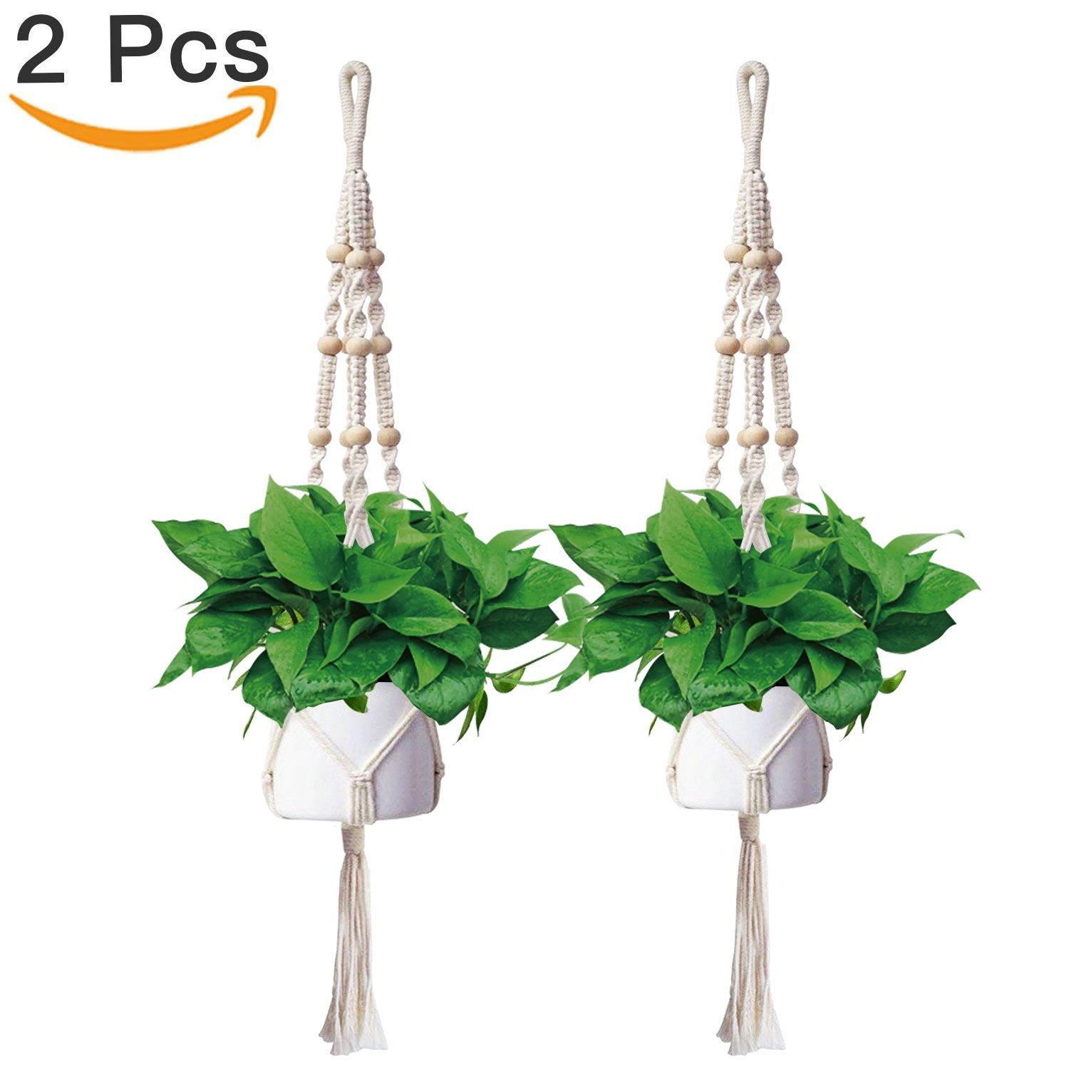 Anglink Hanging Plant Holders, 46 Inch (2 Pack) Outdoor Indoor Macrame Plant Hangers Rope Holder for Plant Pot Cotton Rope, 4 Legs