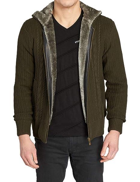 AIKOSHA Mens Fleece gefütterte Kapuzen Strickjacke Strickjacke mit Taschen  Stehkragen voller Reißverschluss b3256b591c