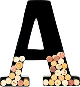 Wine Cork Holder - Metal Monogram Letter (A), Black, Large   Wine Lover Gifts, Housewarming, Engagement & Bridal Shower Gifts   Personalized Wall Art   Home Decor