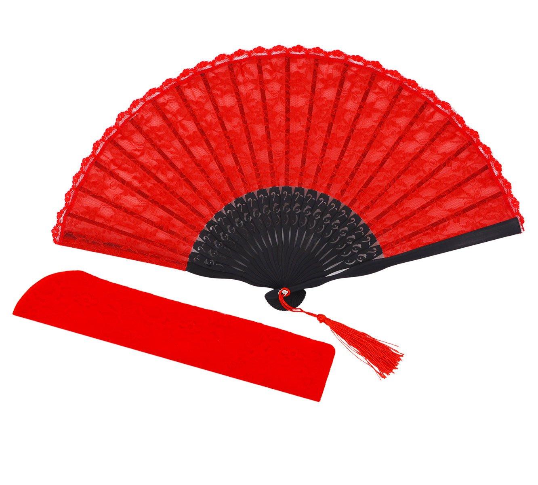 Meifan Womens Multi Color Handmade Cotton Lace Folding Hand Fan (Red)