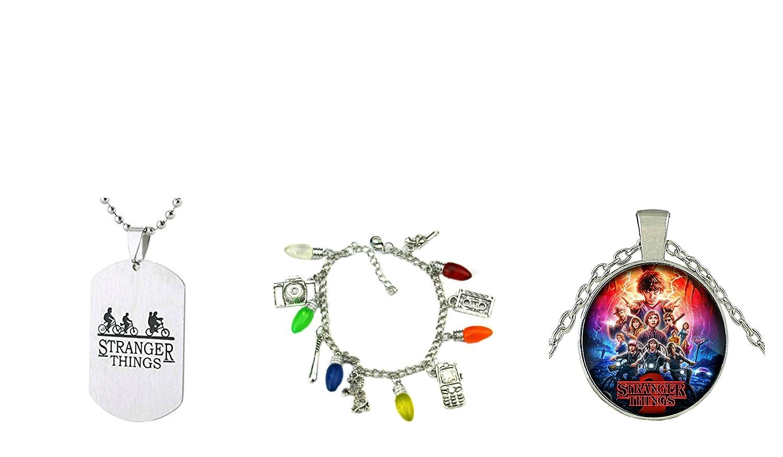 3パックStranger Thingsテーマチャームブレスレット+ Pendent Necklaces Eleven Demogorgon B07BH6L6ZQ