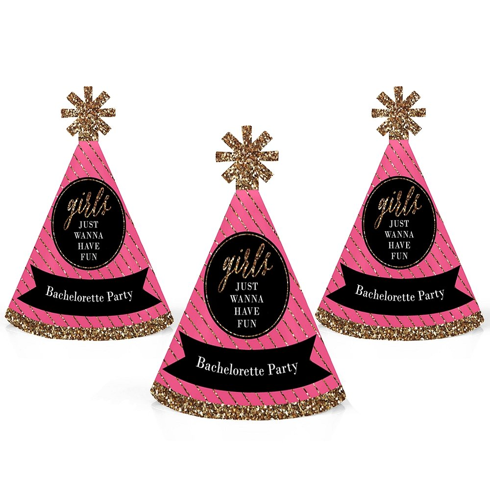 Girls Night Out - Mini Cone Bachelorette Party Hats - Small Little Party Hats - Set of 10
