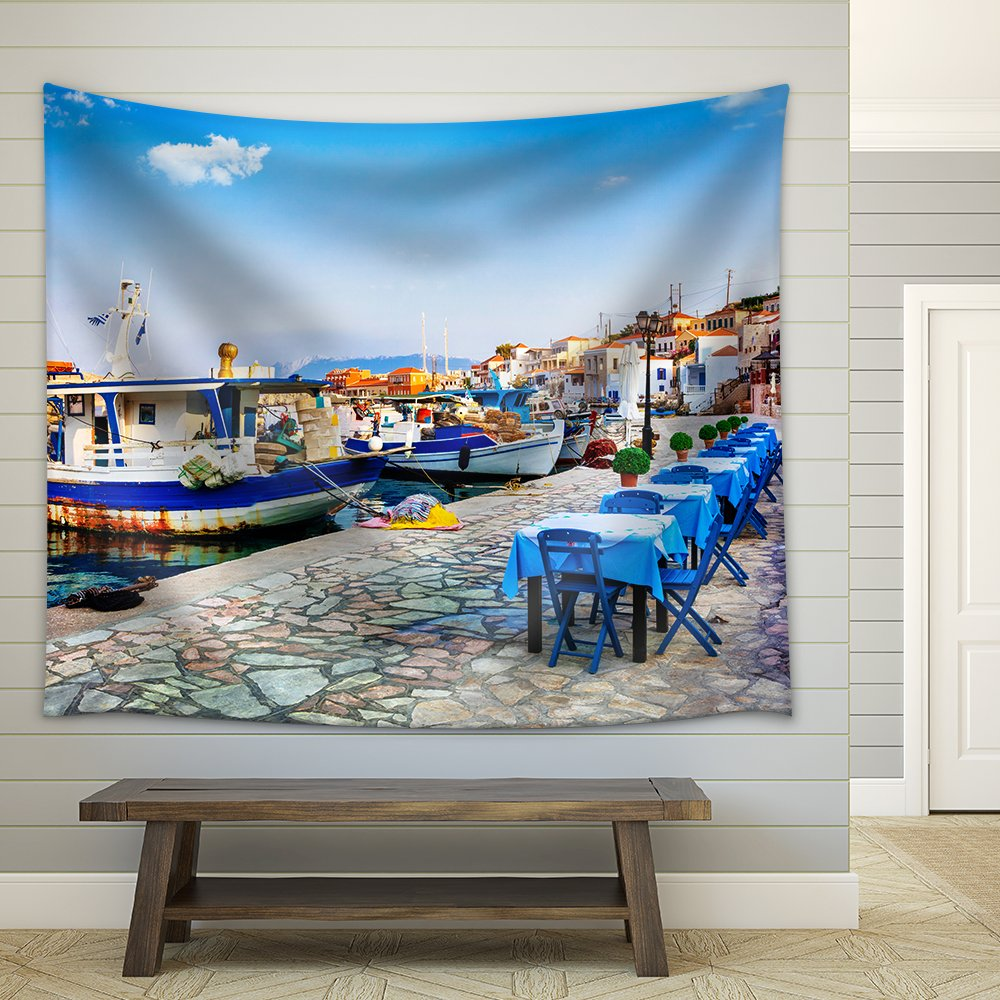 wall26 - Traditional Greece - Old Fishing Boats and Tavernas, Chalki Island - Fabric Wall Tapestry Home Decor - 68x80 inches