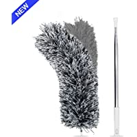 Microfiber Duster with Extension Pole(Stainless Steel), Extra Long 100 inches, with Bendable Head, Extendable Duster for Cleaning High Ceiling Fan, Interior Roof, Cobweb, Gap Dust- Wet or Dry Use